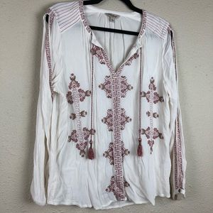 Lucky Brand Boho Embroidered White Blouse Large